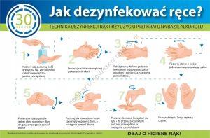 tabliczka instrukcja dezynfekcji rąk