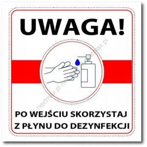 tabliczka skorzystaj z płynu do dezynfekcji