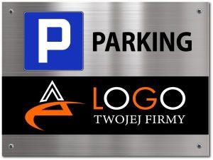 tabliczka parkingowa z logo firmy