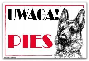 tabliczka uwaga pies owczarek