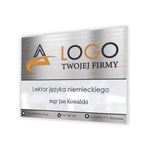 tabliczka firmowa z logo danymi firmy