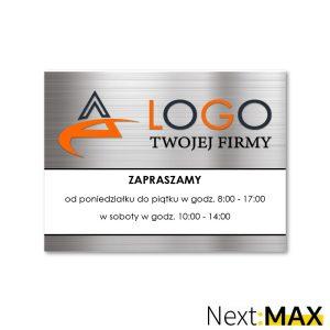 tabliczka firmowa z logo godziny otwarcia