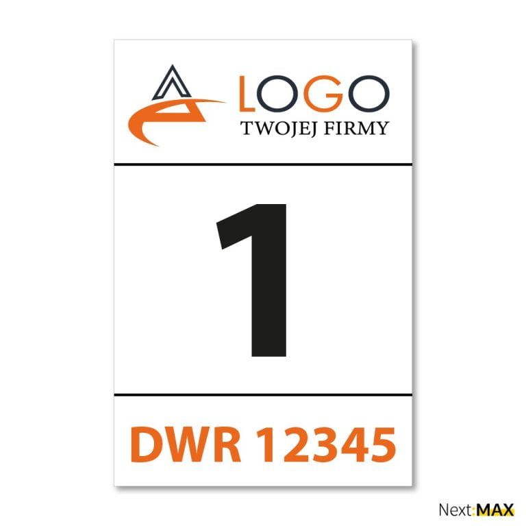tabliczka parkingowa nr rejestracyjny i logo