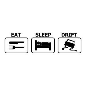naklejka EAT SLEEP DRIFT czarna na samochód