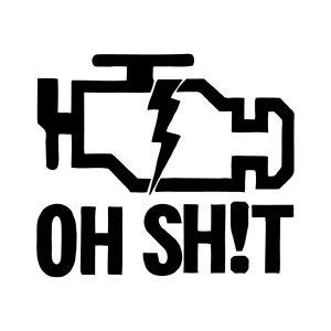 naklejka KONTROLKA CHECK ENGINE czarna na samochód